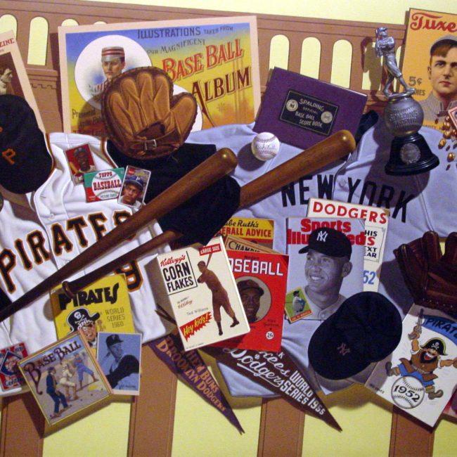 painting of baseball memorabilia collage