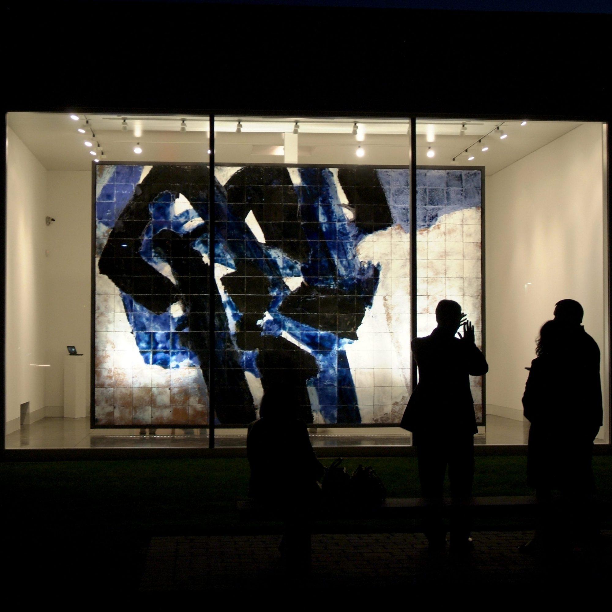night image of a ceramic installation