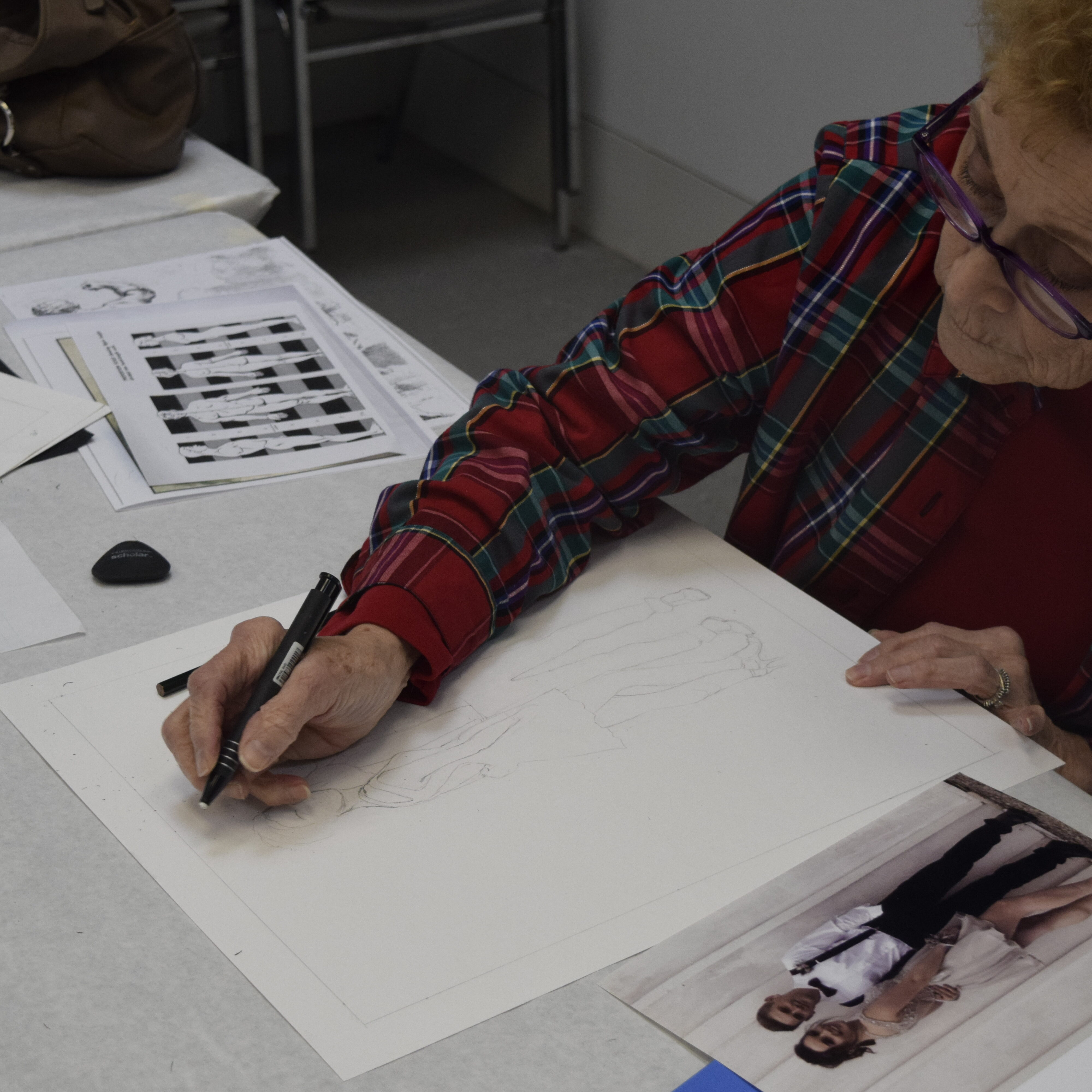 lady drawing a picture