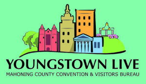 teal colored logo with illustrated city says youngstown live